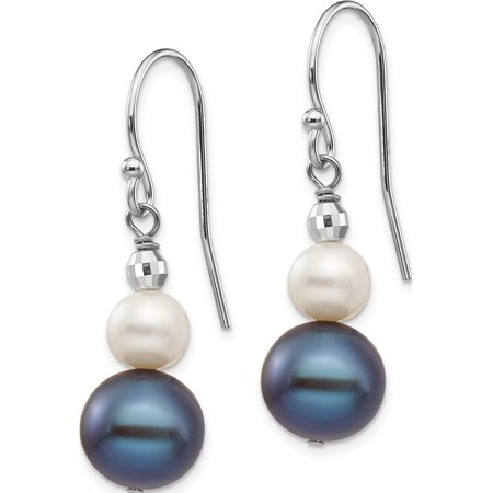 14k White Gold White Fresh Water Cultured Pearl W/ Mirror Bead (9x29mm) Earrings - image 2 of 3