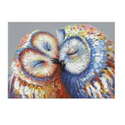 Kissed Owl Couple Stretched Canvas Print Picture Hang Wall Art Home Decor Gift With Frame