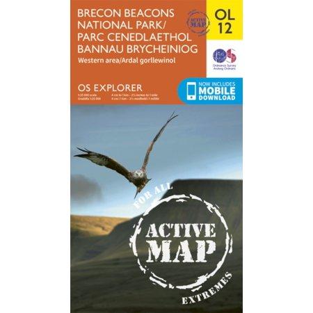 OS Explorer ACTIVE OL12 Brecon Beacons National Park Western & Central areas/Parc Cenedlaethol Bannau Brycheiniog Ardaloedd gorllewinol a chanolog (OS Explorer Map Active) (Map)