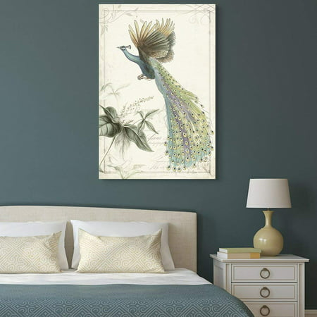 - wall26 Canvas Wall Art - Vintage Style Flying Peacock on Floral Background - Giclee Print Gallery Wrap Modern Home Decor Ready to Hang - 32x48 inches