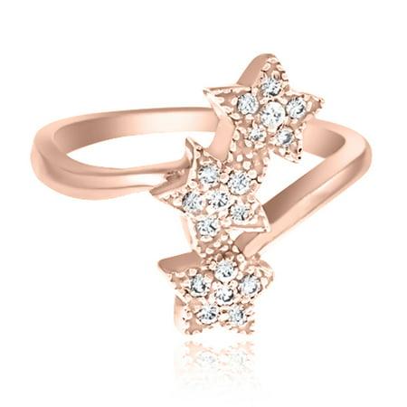 0.25 Ct. Ttw Star Sparkly Diamond Ring In 10K Rose Gold