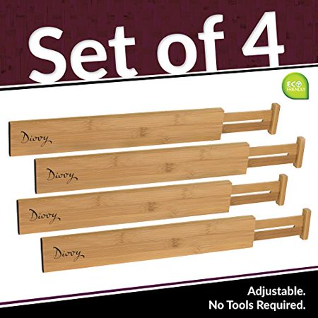 Spring Divider (Bamboo Wooden Drawer Divider, Set of 4 | Adjustable Organizers & Dividers | Eco Friendly | Expandable & Spring Loaded | Works in Kitchen, Dresser, Bathroom, Bedroom, Desk, Baby)