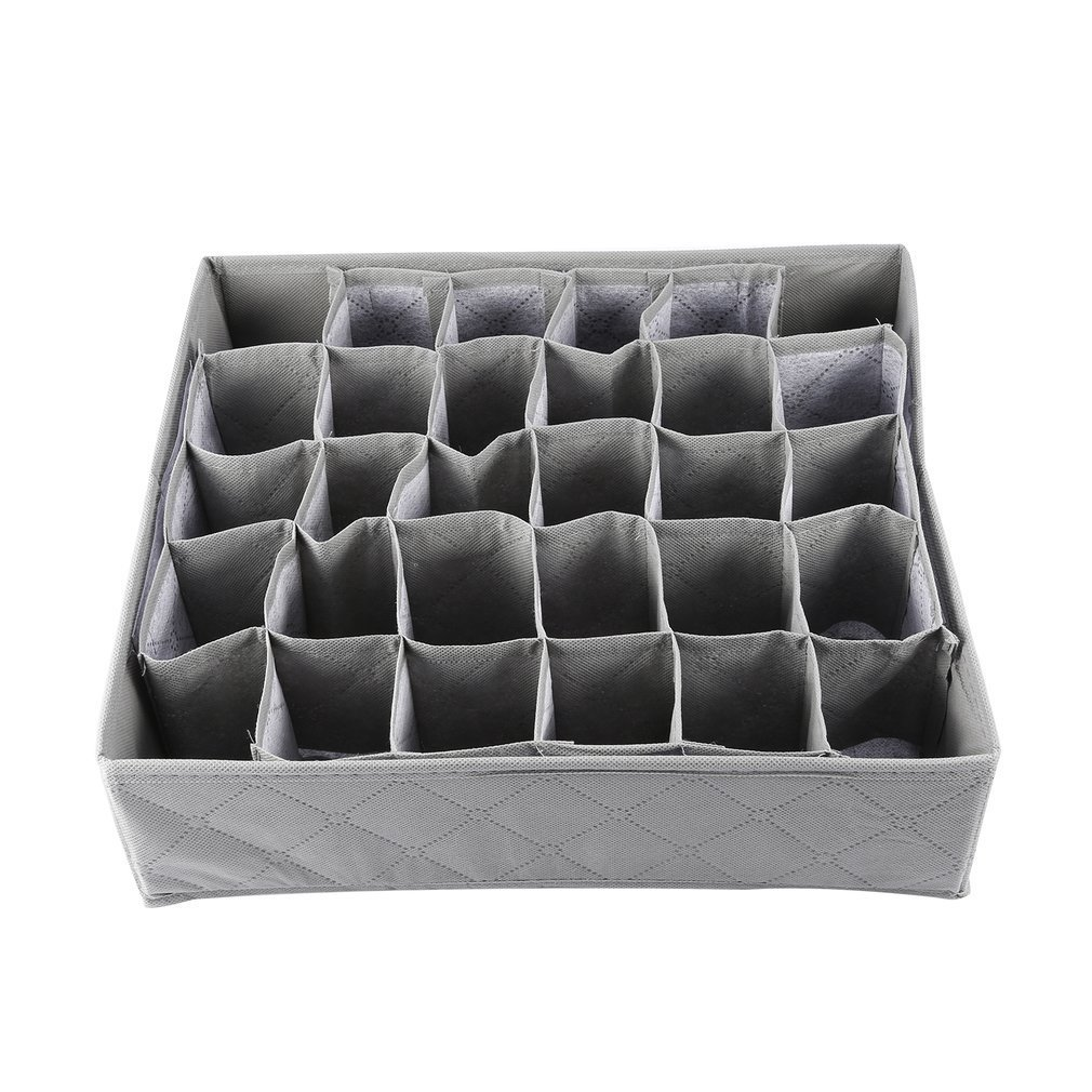 NEW 30 Cells Bamboo Charcoal Ties Socks Drawer Closet Organizer Storage Box
