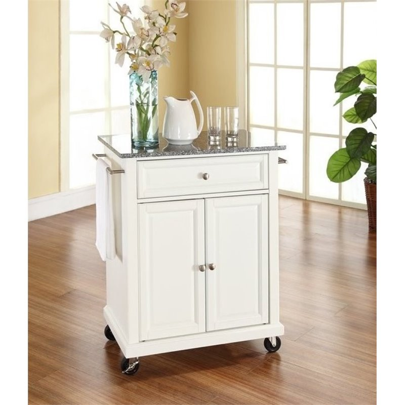 Bowery Hill Solid Granite Top Kitchen Cart in White