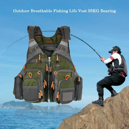 Lixada Outdoor Breathable Padded Fishing Life Vest Superior 209lb Buoyancy Life Safety Jacket Swimming Sailing Waistcoat Utility Vest Floatation Floating Device ()