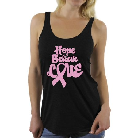 Awkward Styles Women's Hope Believe Love Graphic Racerback Tank Tops Pink Ribbon Breast Cancer