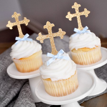 Baptism Decorations for Boys.  Ships in 1-3 Business Days.  Christening Cross Cupcake Toppers 12 CT. - Baptism Decorations