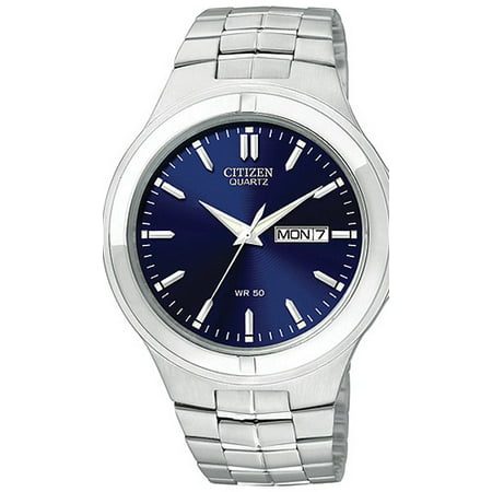 Quartz Mens Day/Date - Blue Dial with Steel Case & Bracelet - 50M - 57w Quartz Sleeve