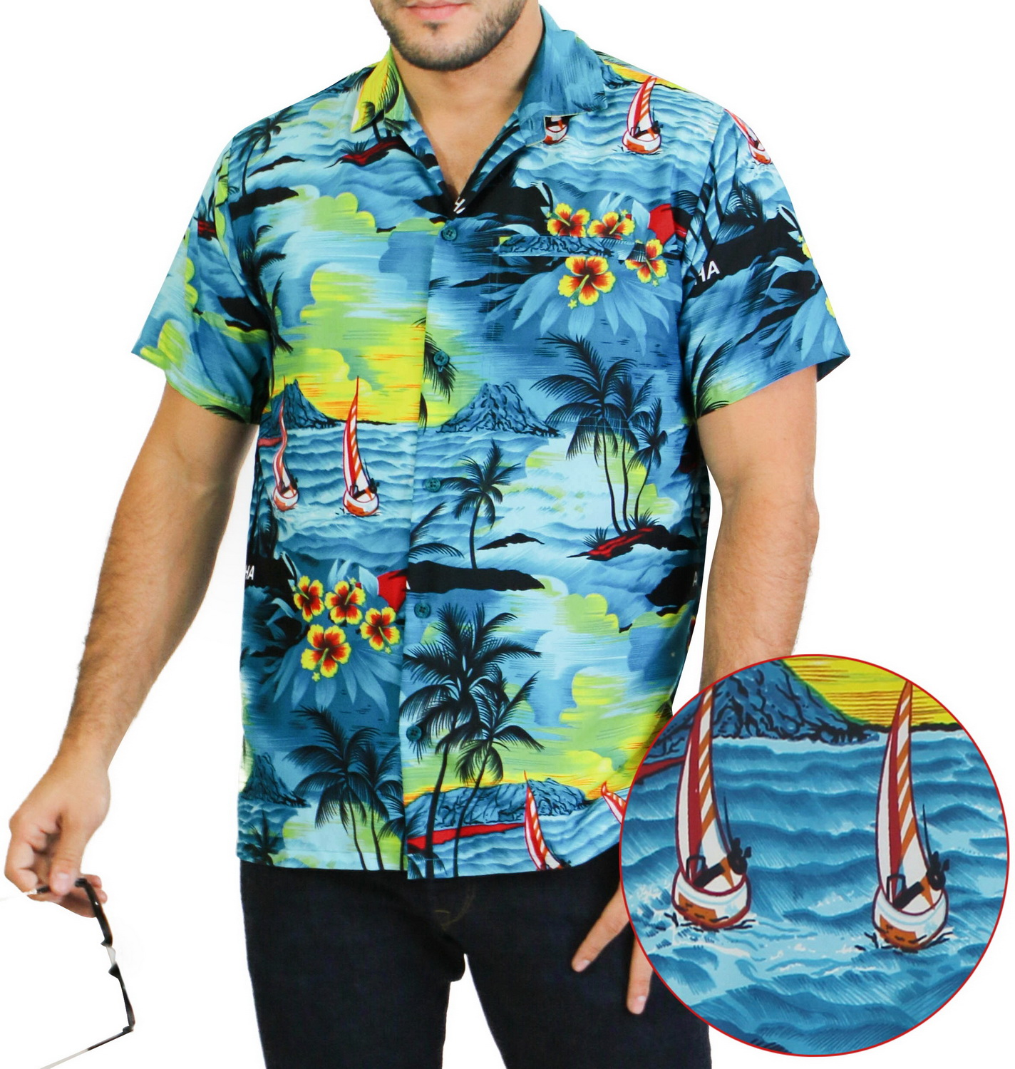 La Leela Men's Woven Hawaiian Beach Swim Casual Button Down Gifts Front Pocket Short Sleeve Camp Shirts Collared Soft Fabric Print Turquoise