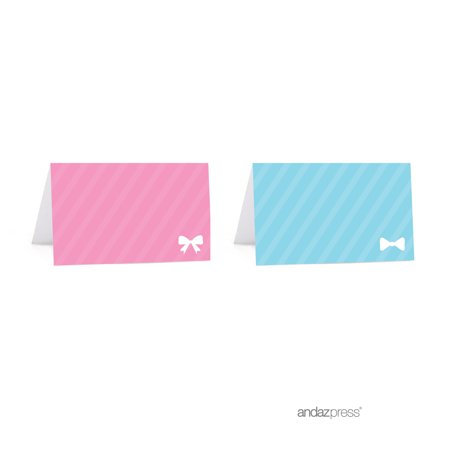Pink Place Card (Team Pink/Blue Gender Reveal Baby Shower Party Table Tent Place Cards, 20-Pack )