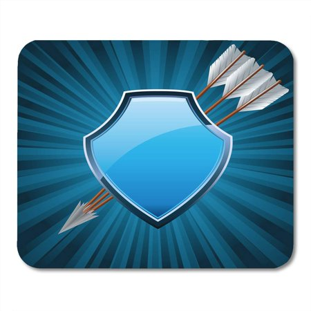 LADDKE Metal Crest Security Shield of Arms Symbol Decorated with Arrows Blue Glass Badge Mousepad Mouse Pad Mouse Mat 9x10 (Glasses Arm Pads)
