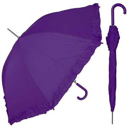 rainstoppers s010pu 48 in. auto open purple parasol umbrella with ruffle, 6