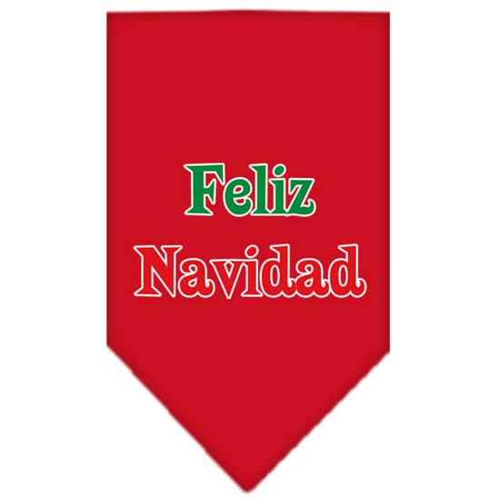 Feliz Navidad Screen Print Bandana Red Small