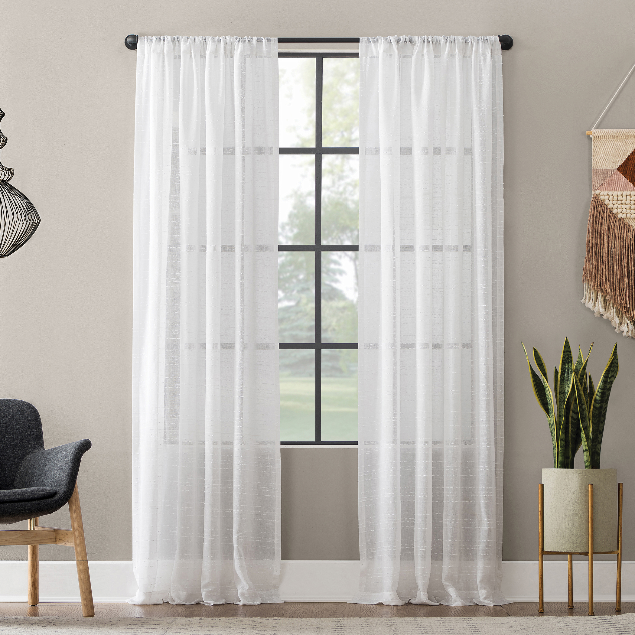 Clean Window Textured Slub Stripe Anti-Dust Curtain Panel