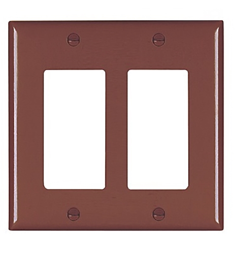 Pass and Seymour TP262 Brown Two Gang Decorator Wall Plate