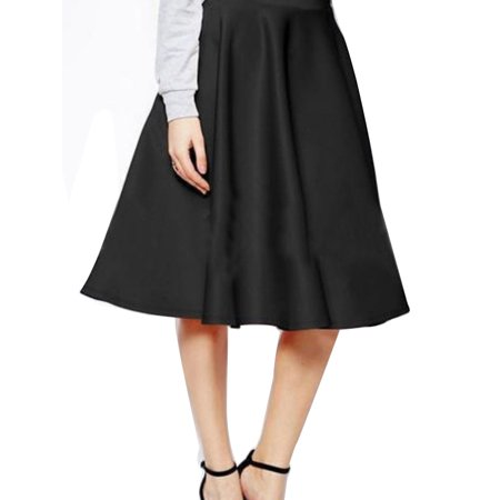 OUMY Women Flared Knee Length Skater Swing Skirt Office Lady Midi Skirts