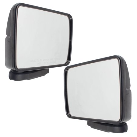 Mitsubishi Mighty Max Truck Parts (Brock Pair Set Manual Side View Mirrors Sail Mounted Ready to Paint Housing for 87-93 Ram 50 87-96 Mitsubishi Mighty Max Pickup Truck replaces 4443259 4443258 MB476281)