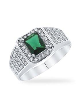 DTLA Mens Sterling Silver Emerald Cut Center CZ Modern Engagement Ring - 10