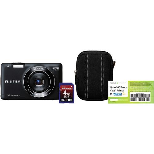 "FUJIFILM Black Finepix JX500 14MP Digital Camera w/ 5x Optical Zoom Lens, 2.7"" LCD Display, HD Video, with Bonus 4GB SD Card and Case / 100 Bonus Prints"