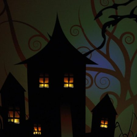 The Holiday Aisle 'LED Lighted Spooky House and Eyes Halloween' Graphic Art Print on - Halloween Eye Art