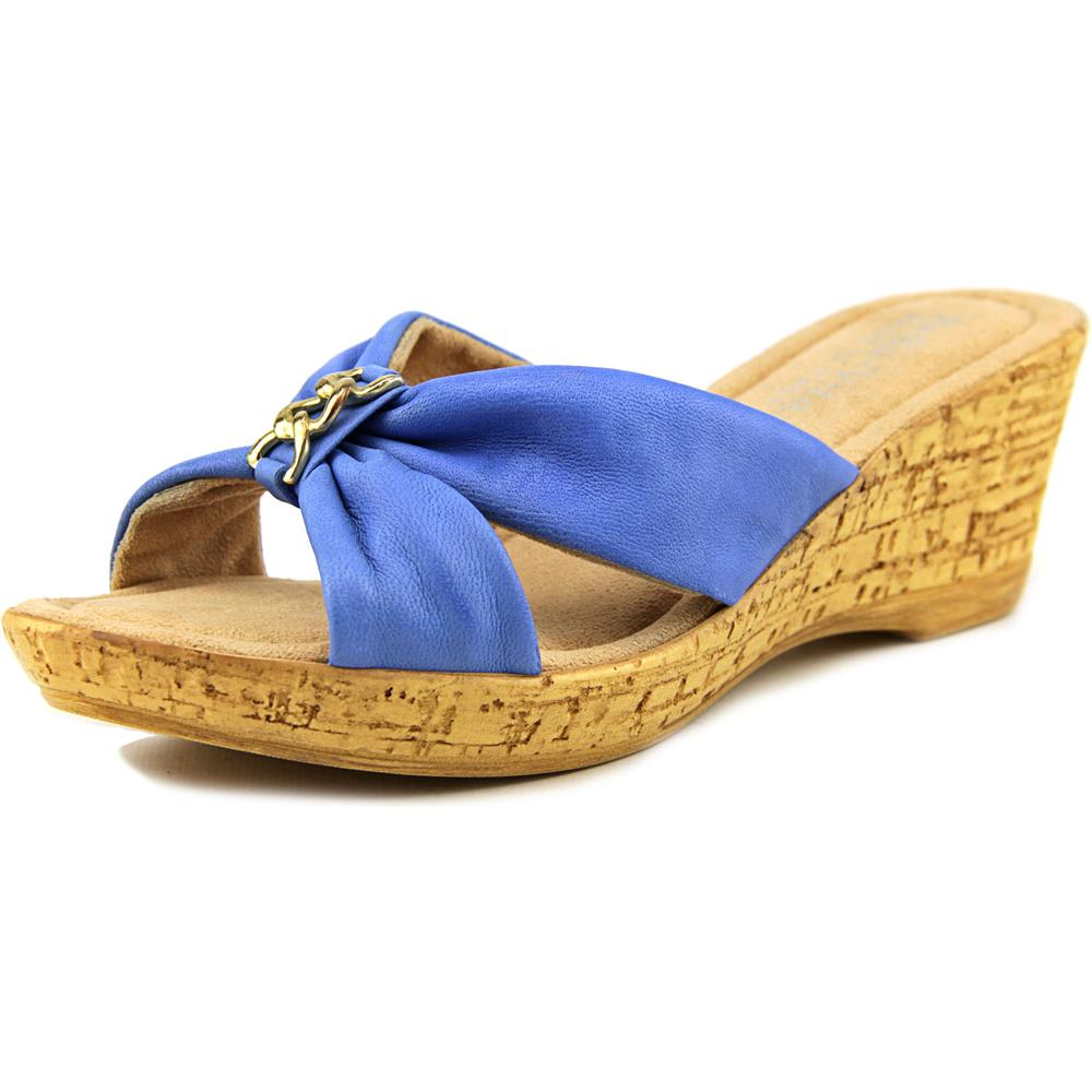 Bella Vita Aquila Women N S Open Toe Leather Blue Wedge Sandal by Bella Vita