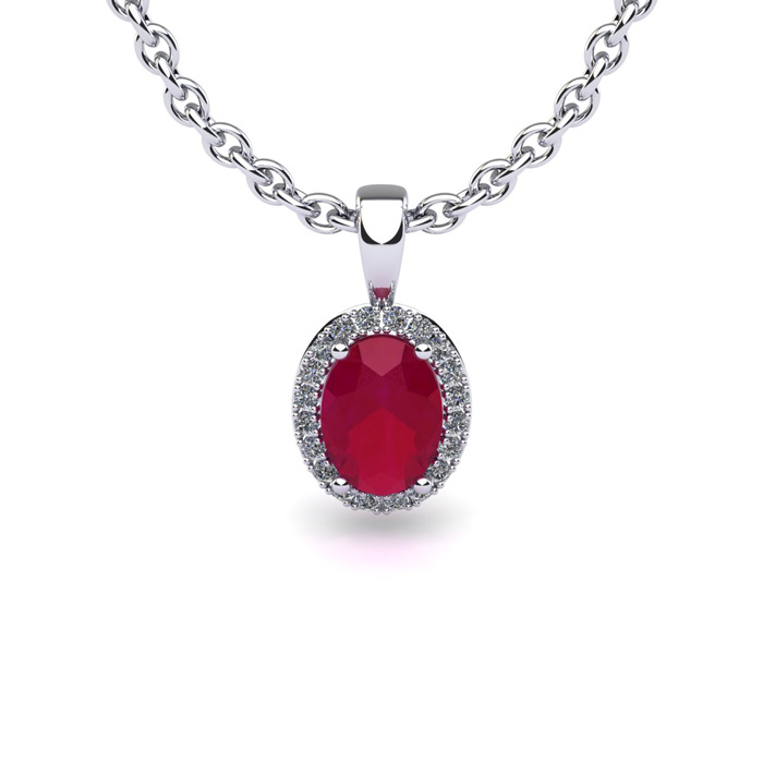 1 3 4 Carat Oval Shape Ruby and Halo Diamond Necklace In 14 Karat White Gold With 18 Inch Chain by SuperJeweler
