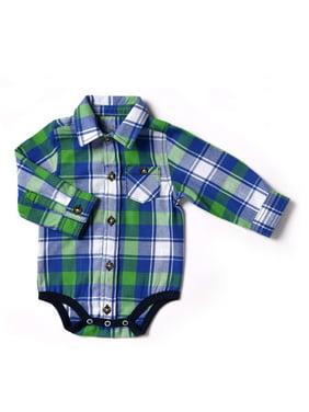 30fe6384c3f5c Product Image Kapital K Newborn Baby Boy Flannel Plaid Bodysuit