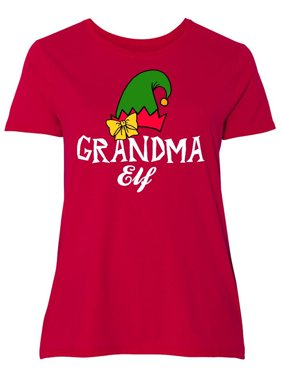 254de909305 Product Image Grandma Elf with Elf Hat and Bow in White Women s Plus Size T- Shirt