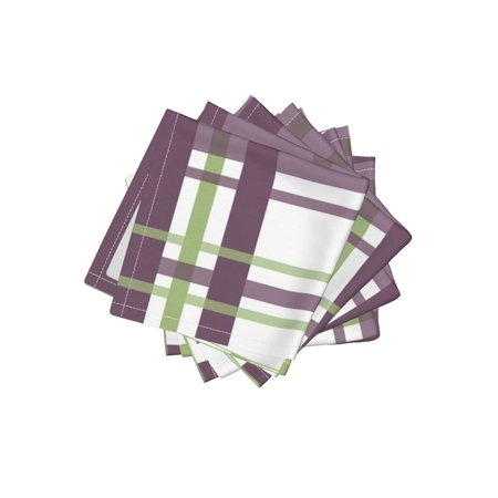 Cocktail Napkins Plum Sage Plaid Stripe Set of 4](Plum Napkins)