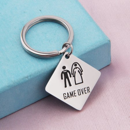 Funny Wedding Gift Game Over Keychain Bachelor Party Gift For Groom Bride Couple Jewelry