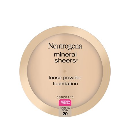 Neutrogena Mineral Sheers Lightweight Loose Powder Makeup Foundation with Vitamins A, C, & E, Sheer to Medium Buildable Coverage, Skin Tone Enhancer, Face Redness Reducer, Natural Ivory 20, .19 oz