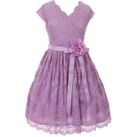 - Little Girls Cap Sleeve Lace Floral Overlay Sash Flowers Flower Girl Dress Lilac 6 (J20KS66)
