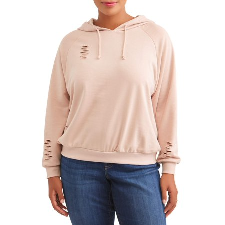 Women's Plus Size French Terry Hooded Destructed Sweater for $<!---->