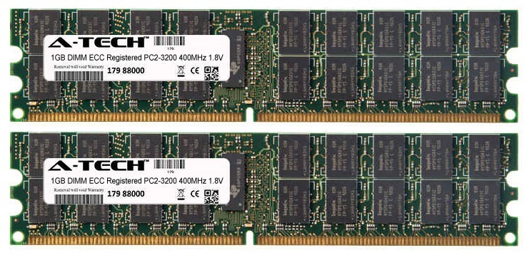 2GB Kit 2x 1GB Modules PC2-3200 400MHz 1.8V ECC Registered DDR2 DIMM Server 240-pin Memory Ram