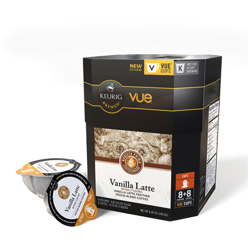 Keurig Vue Pack Barista Prima Coffeehouse Vanilla Latte Coffee & Frother, 16ct