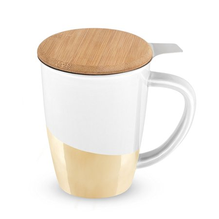 Ceramic Mug, Bailey Gold Dipped Insulated Tea Cute Novelty Ceramic Infuser Mug