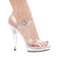 "Ellie Shoes E-M-Brook 5"" Heel Clear Sandal 11 / Clear"