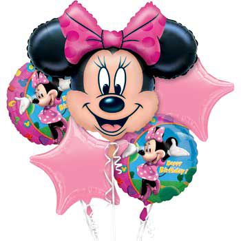 Minnie Mouse Mylar Balloon Bouquet (each) - Party Supplies