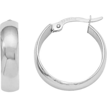 10kt White Gold Polished Hinged Hoop Earrings