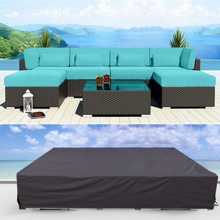 Waterproof Outdoor Furniture Protective Cover Table & Chair Water Resistant Patio Garden Wicker Sofa Couch Cover Protector With Storage Bag ()