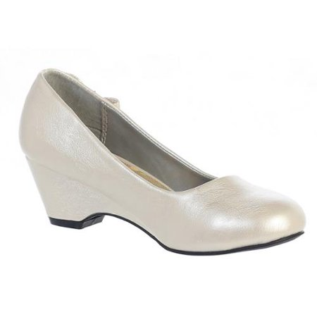 Children's Occasion Shoes (Girls Ivory Bow Gina Special Occasion Dress Wedge Shoes 11-4)