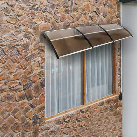 """Image of """"Topcobe 120""""""""×40"""""""" Polycarbonate ABS Bracket Brown & Black Door/ Window Awnings for Patios Cover Rain Snow Protection Cover Front Door Outdoor Awning Patio Canopy Sun Shelter (Aluminum Fixing Bars)"""""""