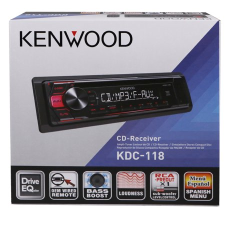 Kenwood Kdc 118 In Dash 1 Din Front Usb Aux Cd Am Fm Car Stereo