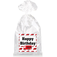 Happy Birthday Fire Truck  Party Favor Bags with Ties - 12pack