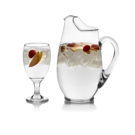 Libbey Carolina Pitcher and Glass Set, 7pc - Hand Painted Glass Pitcher