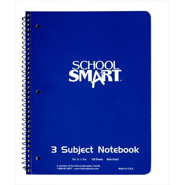 School Smart Spiral Composition Book, Non-Perforated, Wide Ruled, 5-1/2 x 4 Inches, 200 Sheets