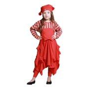 KidCuteTure Little Girls Poppy Red Pick-up Carmen Trendy Fall Designer Dress 2-6