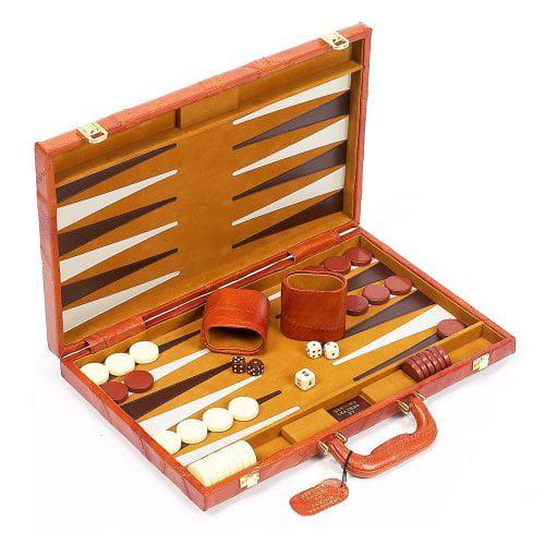 Viscount Leather Backgammon Set - 18 Inch