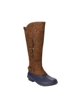 jbu by jambu women's colorado weather ready rain boot, navy/brown, 6 medium us