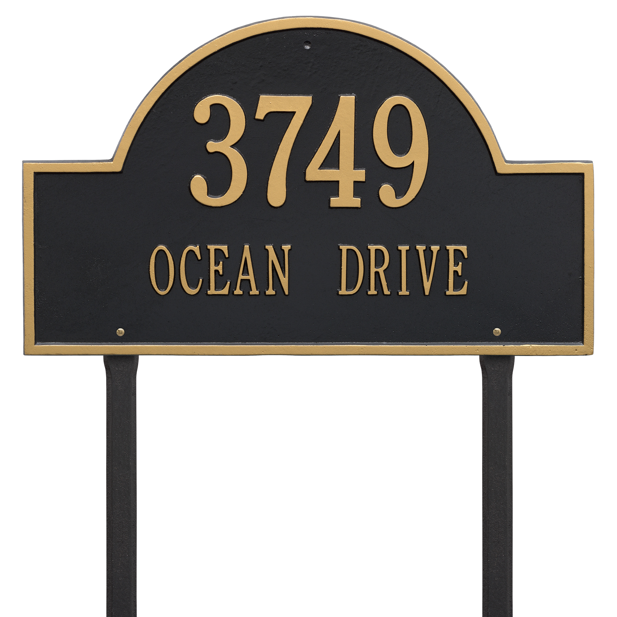 Personalized Whitehall Products Estate Lawn 2-Line Arch Marker in Black/Gold